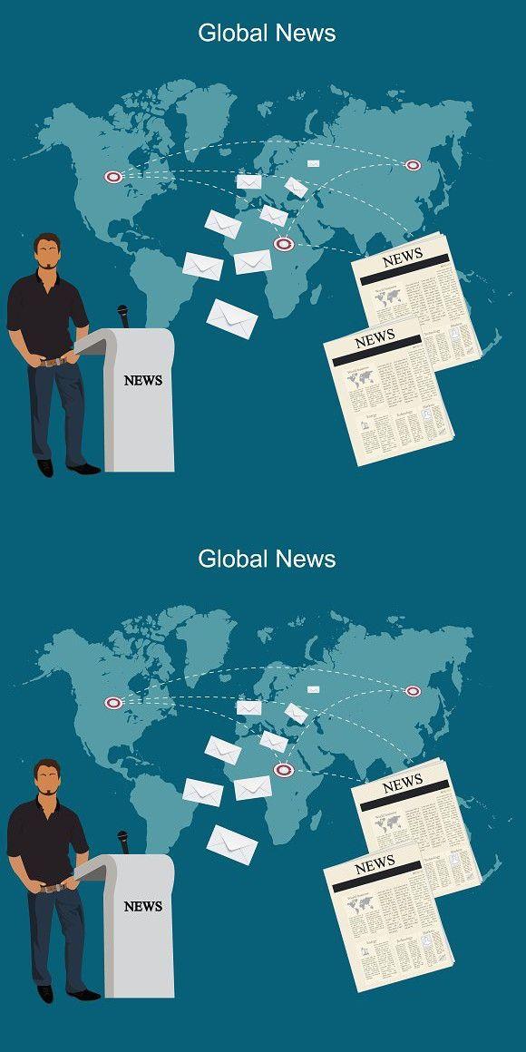 global news, communication, vector  Newsletter Template
