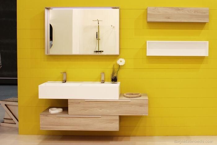 Idee e spunti per il mobile dal bagno: dall'ultimo salone internazionale della ceramica e dell'arredo bagno Cersaie 2014 #bathroom #design #bathroomdecor #madeinItaly #vanity #interiordesign #yellow