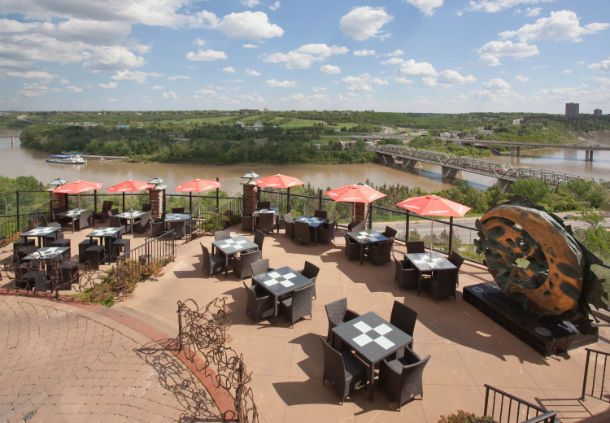 Riverside Bistro – Courtyard Marriott 1 Thornton Ct NW  Reservations can be booked indoors If it's an nice day and there's room on the terrace you can move there instead  Seats 20 people  Room charge: $0 Estimate per person: $38   Total Estimate for 20 people (incl. tax and tip): $934.80