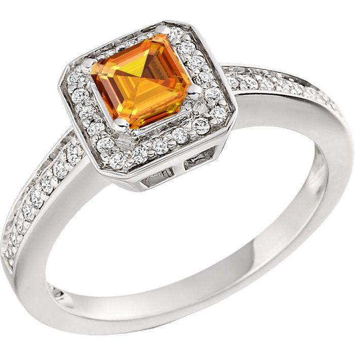 Inel Dama Aur Alb 18kt cu Citrin Auriu si Diamante, Stil Halo - RDC269W