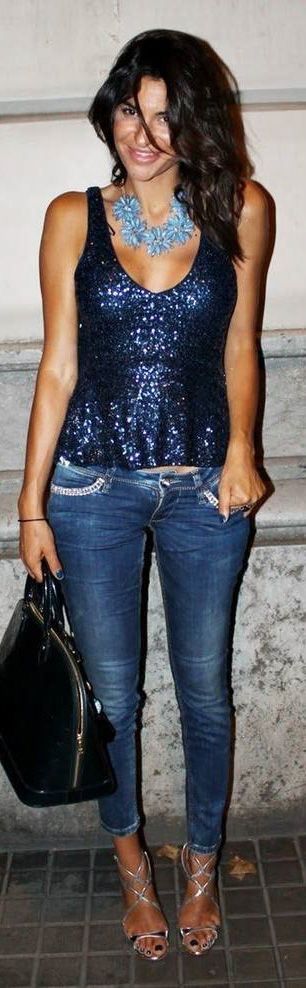 Sequin Tank Top with Skinny Jeans