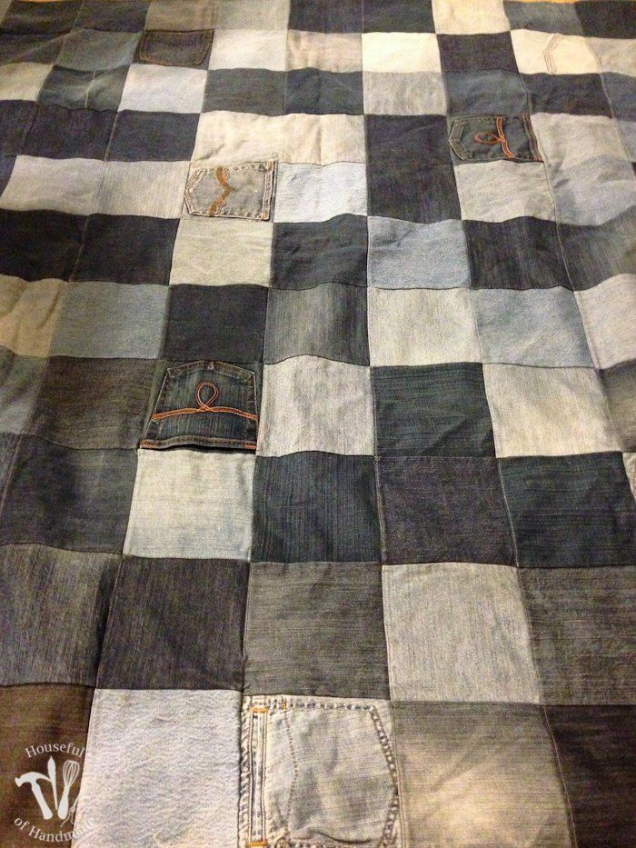 She Cuts Up Old Jeans Into 121 Squares. Now Watch What She Does With A Shower Curtain. GENIUS!