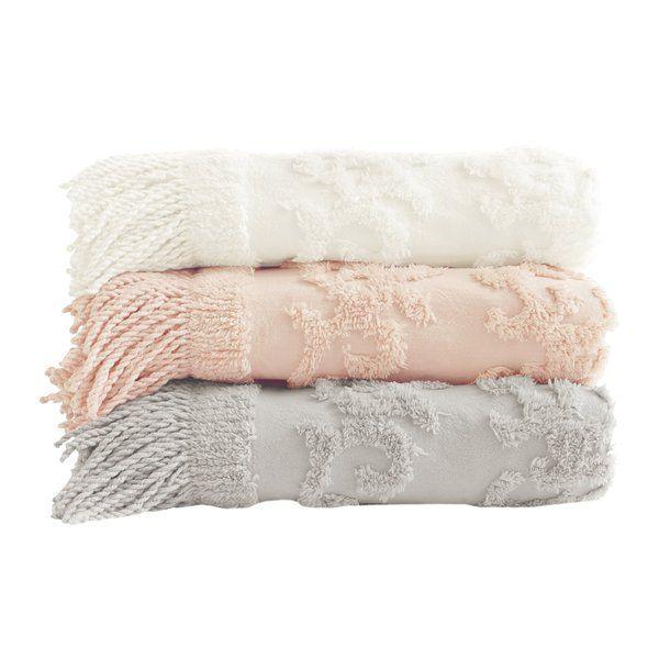 Veras Tufted Cotton Throw Blush Throw Pink Throw Blanket Chenille Throw