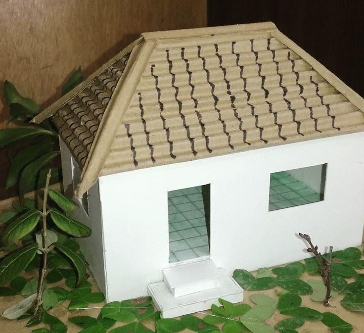 رِماح سلامه لوحة6: اسقاطات عمودية وقطاعات اكسنومترية لبيت بسقف مائل باربع طيات
