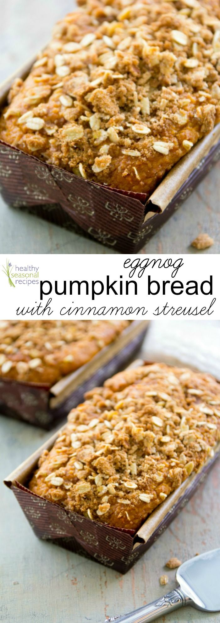 Eggnog Pumpkin Bread | This home-baked gift from the kitchen is perfect for Christmas visits! @healthyseasonal
