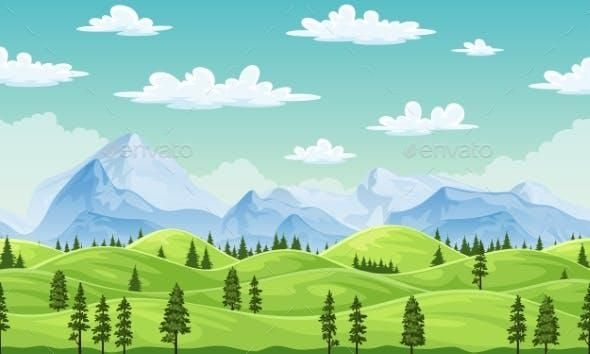 Summer Landscape With Trees And Mountains Summer Landscape Landscape Trees Landscape