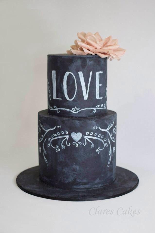 Chalkboard and wafer flower wedding cake