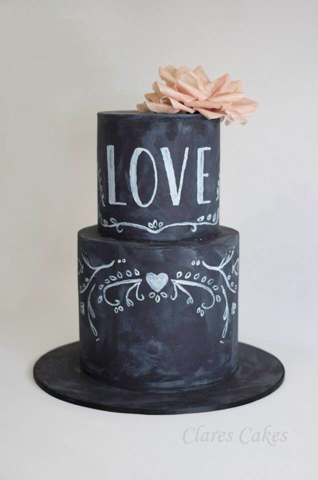 Chalkboard and wafer flower wedding cake