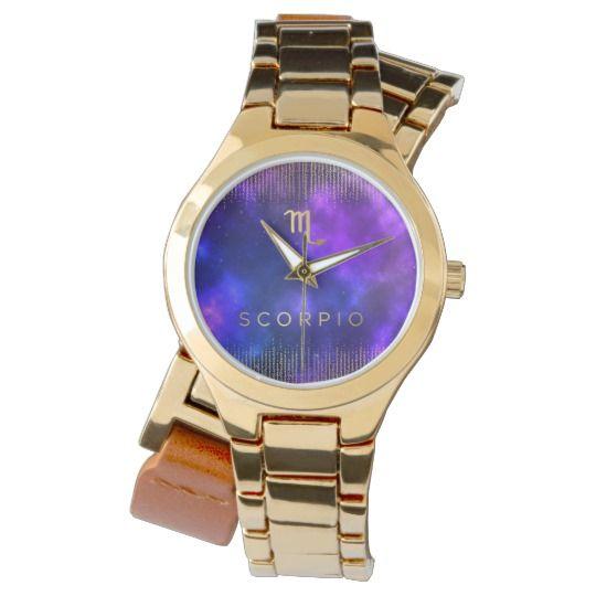 Scorpio Zodiac Custom Gold Wrap-Around Watch