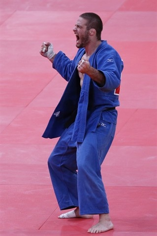 Travis Stevens of the United States competes against Avtandil Tchrikishvili of Georgia in the Men's -81 kg Judo on Day 4 of the London 2012 Olympic Games.