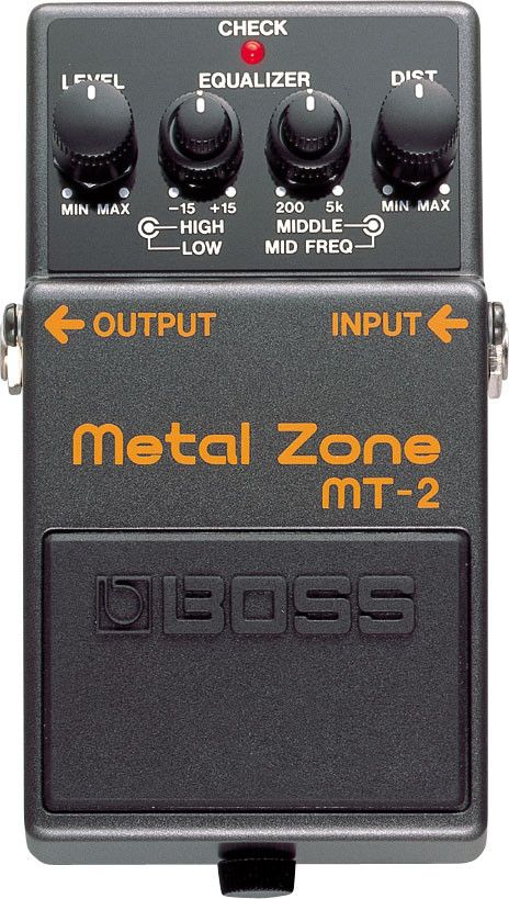 The MT-2 Metal Zone is one of BOSS' most popular pedals. This stompbox provides some of the most over-the-top, insane distortion tones in the world with huge mids and lows and an ultra-saturated sound