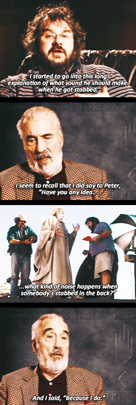 That moment when you realize that Christopher Lee has most likely killed a man... Well he did fight in the war.