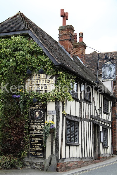 The Leather Bottle pub in Cobham, Kent, UK is where Charles Dickens wrote The Pickwick Papers