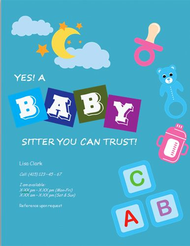 make babysitting flyers online free