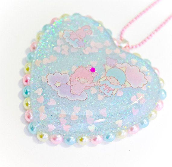 Little Twin Stars Resin Heart Pendant Necklace by SugarJunkieShop, $22.00