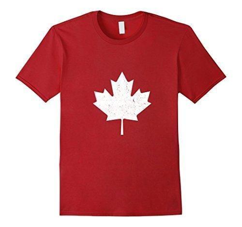 Men's Canada Maple Leaf Vintage T-Shirt Canada Day T-Shirt Medium Cranberry