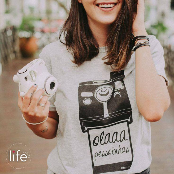 """Look Life """"olaaa pessoinhas""""! Camiseta personalizada em parceria com o canal de fotografia Dupla Exposição. Foto polaroid. T-shirt exclusiva!"""