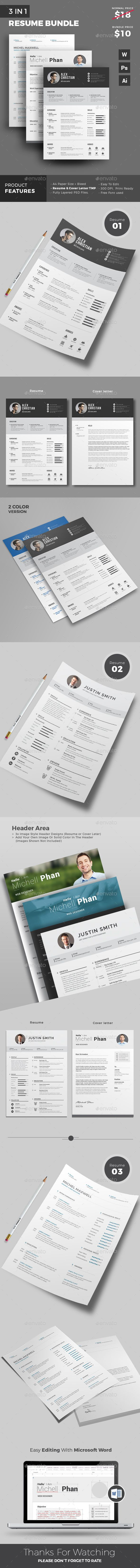 3 Professional Resume Templates with 50 Discount