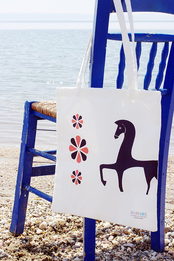 Shopping bag inspired from ancient Greece from the new collection KYANOS by Lacrimosa Design.  www.kyanos.lacrimosadesign.com