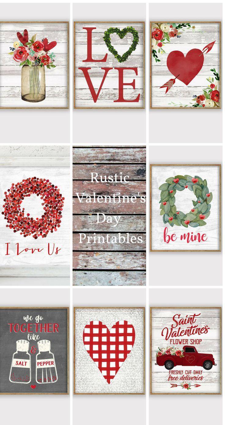 Perfect rustic Valentine's Day printables. #valentinesdaydecor #farmhousedecor #affiliate
