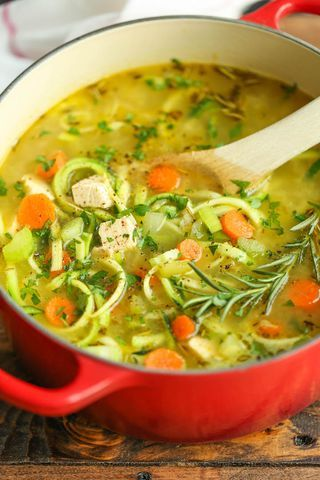 Just like mom's cozy chicken noodle soup but made with zucchini noodles instead! So comforting AND healthy! 227.3 calories.  I think we're having the coldest winter of all. And when I say coldest wint
