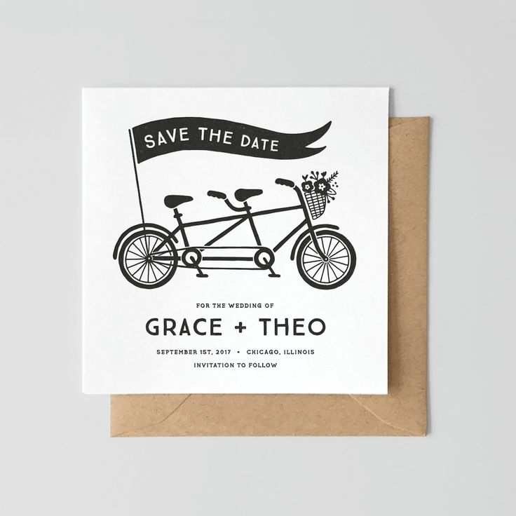 Black & White Tandem Bike Save the Date. Letterpress printed by hand on 100% cotton paper.