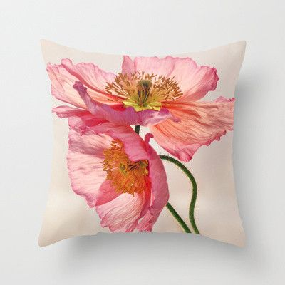 Like Light through Silk - peach / pink translucent poppy floral Throw Pillow by micklyn