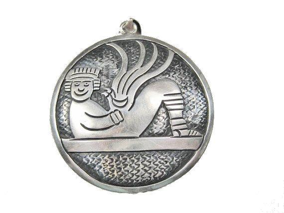HUGE Vintage Aztec Cipactli Chacmool Pendant by BejeweledEmporium
