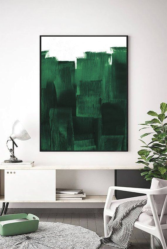 Forest Green Print Dark Green Decor Dark Green Painting Contemporary Print Green Art Green Wall Art Mini Green Wall Art Green Paintings Green Decor