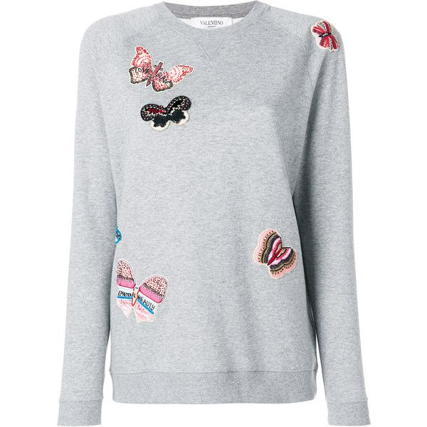 Valentino embroidered butterfly sweatshirt (2,840 CAD) ❤ liked on Polyvore featuring tops, hoodies, sweatshirts, grey, metallic long sleeve top, butterfly tops, metallic top, long sleeve tops and grey sweatshirt