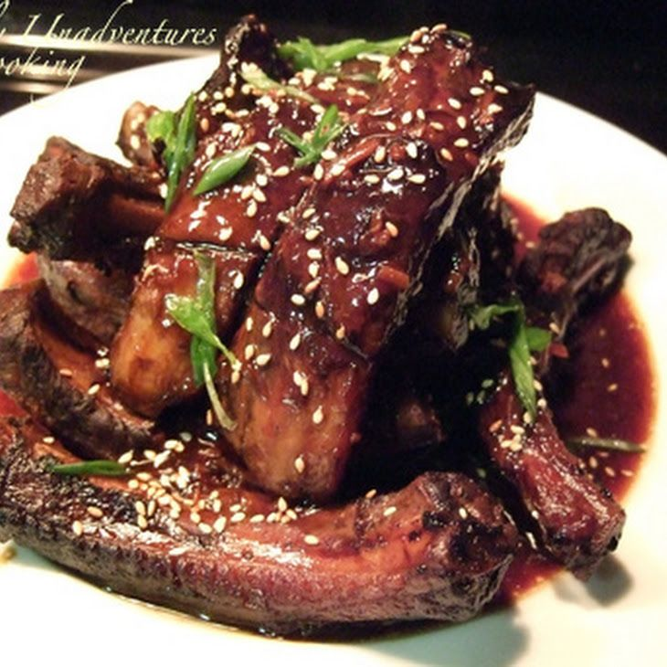 Korean Style Ribs Recipe Main Dishes with pork ribs, soy sauce, orange juice, rice vinegar, ginger, chili flakes, garlic, toasted sesame oil, honey, toasted sesame seeds, scallions, corn starch