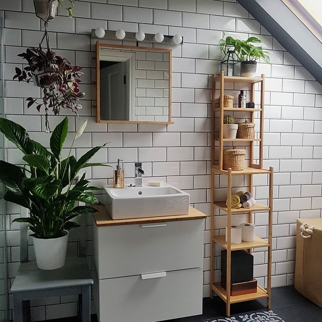 Subway Tiles In This Monochrome Bathroom With Plants And Wooden Furniture Bathroom Bathroominspo Bathroomdecor Subw Monochrome Bathroom Green Bathroom Home