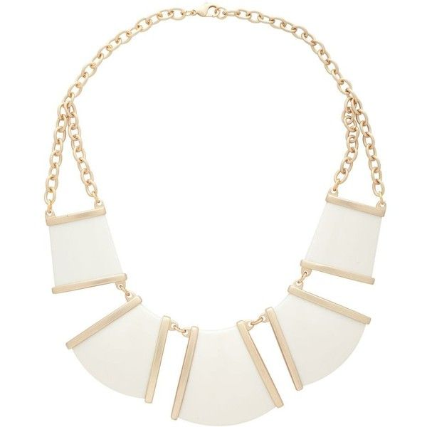 Ivory And Gold Panelled Necklace ❤ liked on Polyvore