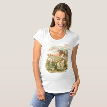 Maternity Tee Antique Angel Feeding a Lamb - baby shower ideas party babies newborn gifts