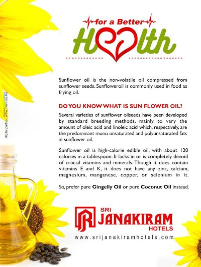 Sunflower oil is one of the most commonly used vegetable oils in the most of the kitchen. Lets know about the healthy alternative of this oil..  Follow us on Facebook - /srijanakiram #srijanakiram   #health   #sunfloweroil   #gingelly oil
