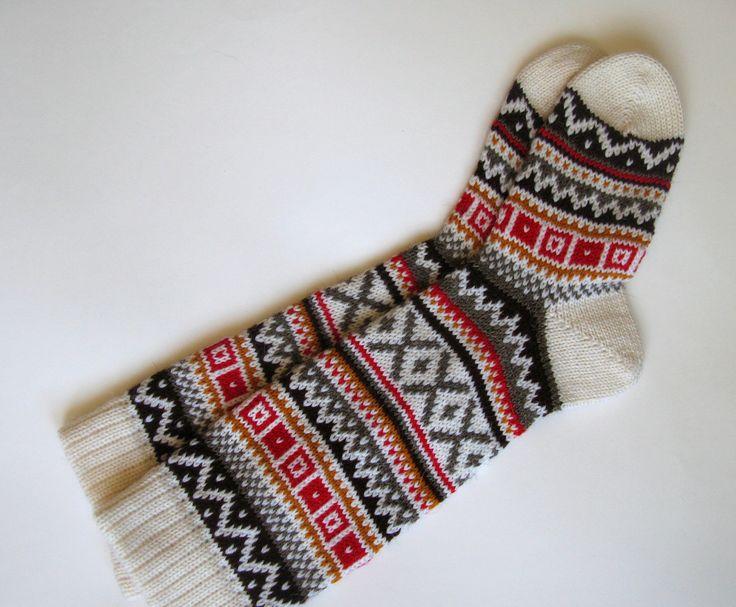 Scandinavian pattern rustic fall autumn winter knit knee-high wool socks Christmas gift CUSTOM MADE. $45.00, via Etsy.