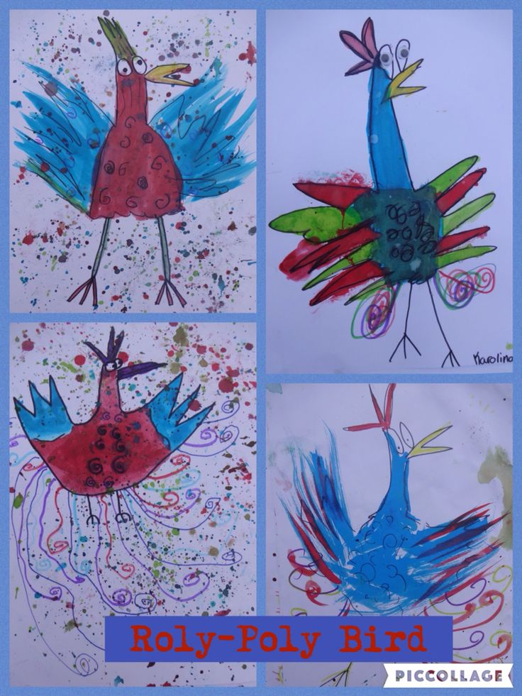 Role-Poly Bird from the Twits. Ink and pen drawing. By year 5 children