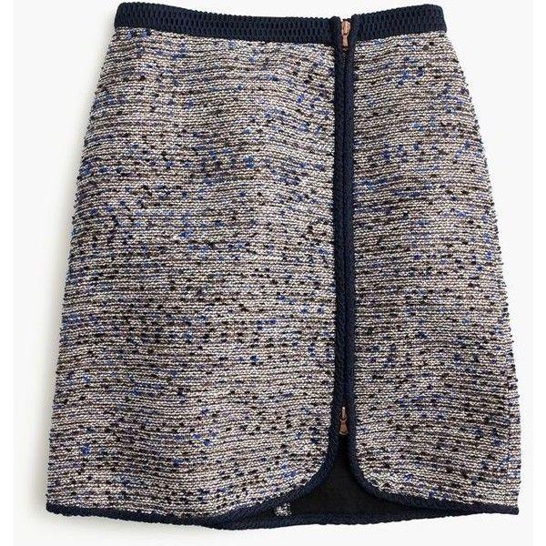 J.Crew Metallic Tweed Zip Skirt ($175) ❤ liked on Polyvore featuring skirts, long skirts, zipper skirt, black tweed skirt, short long skirts and tweed skirt