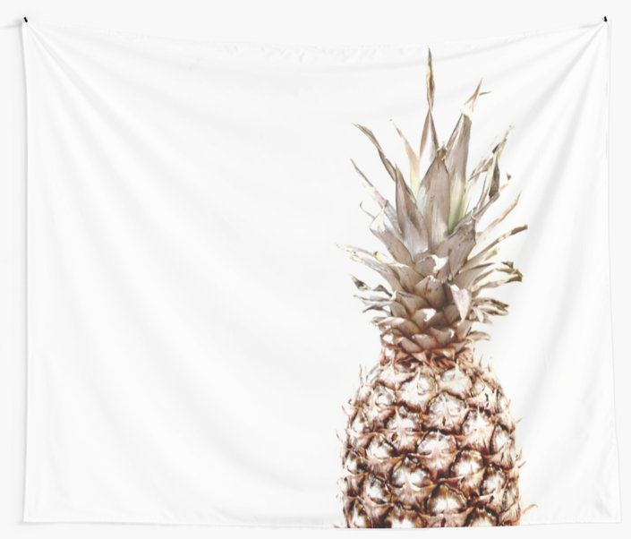 'Pineapple' Wall Tapestry by ARTbyJWP from Redbubble #walltapestry #tapestry #walldeco #pineapple #homedecor #minimal  --     Pineapple isolated on white background. • Also buy this artwork on phone cases, apparel, stickers, and more.