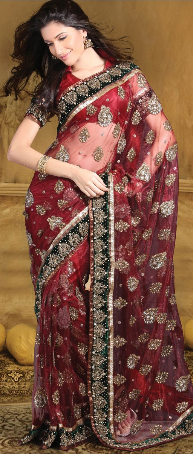 #Maroon Net #Saree with Blouse @ $343.36