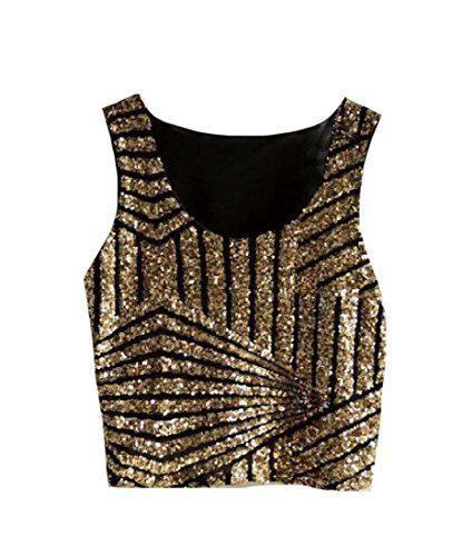 4abdf936a7a69 Sheng Xi Womens Sleeveless Crop Top Sequin Splice Chic Blouse Camisole  Golden One Size     Click for Special Deals  SummerOutfits
