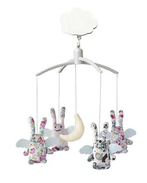 Le Trousselier - Mobile Musical #Ange #Lapin #Liberty #Bébé