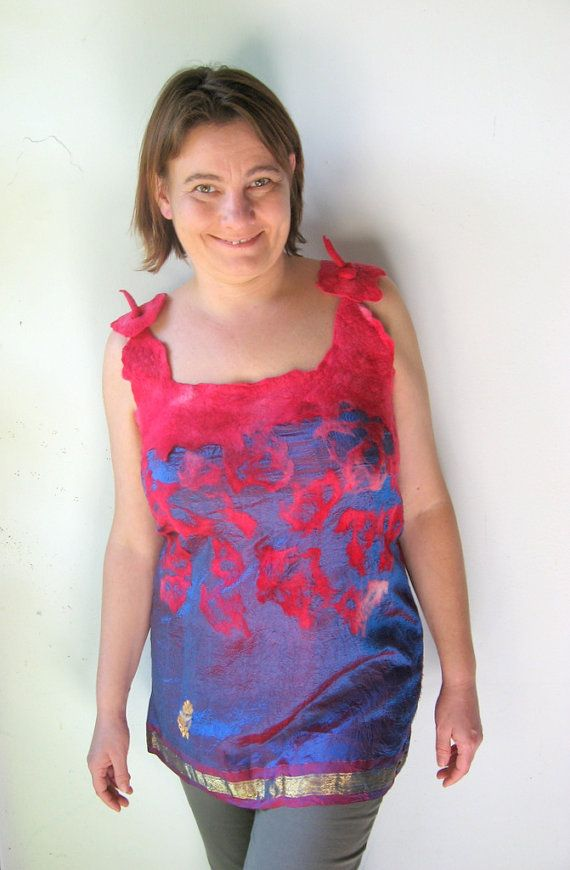 Nuno Felted Silk Top  S or M size by realfaery on Etsy