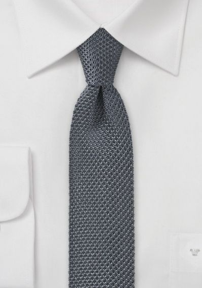 Seiden-Krawatte gestrickt dunkelgrau