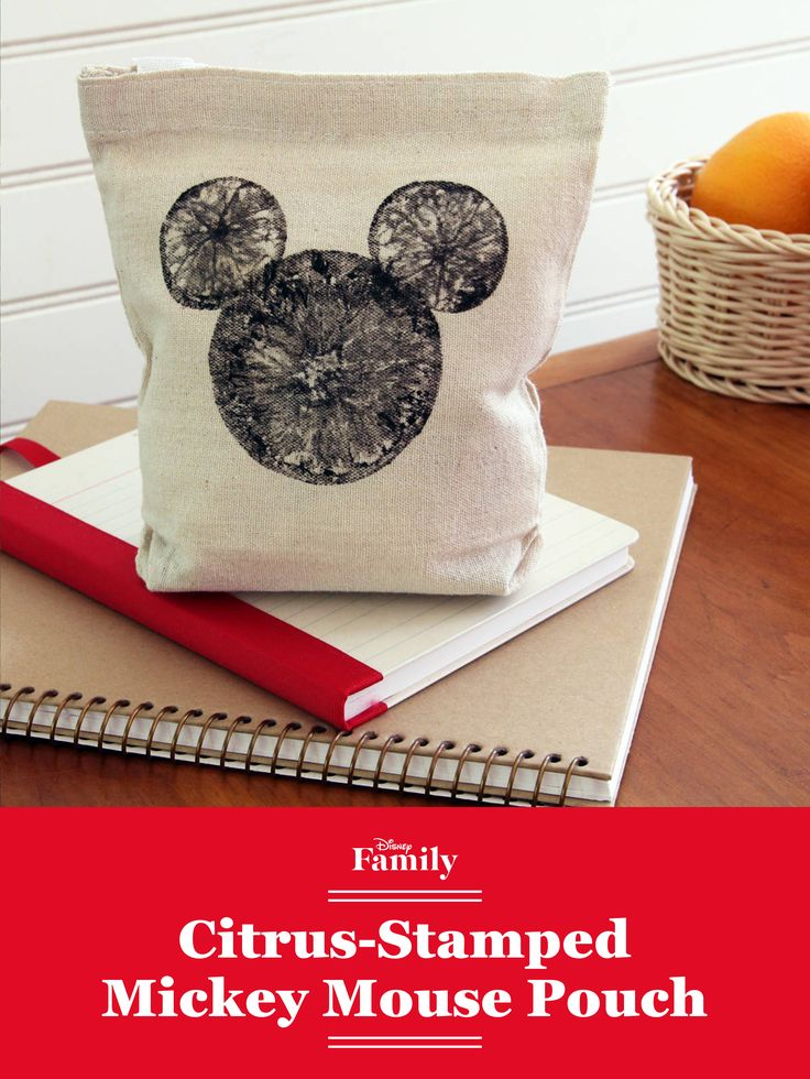 Mickey Mouse looks grand on this DIY citrus-stamped Snack Pouch — perfect for school lunchtime, or just around the house. An orange and some fabric paint give this craft its unique look, while the classic Mickey shape keeps it Disney-certified cute.