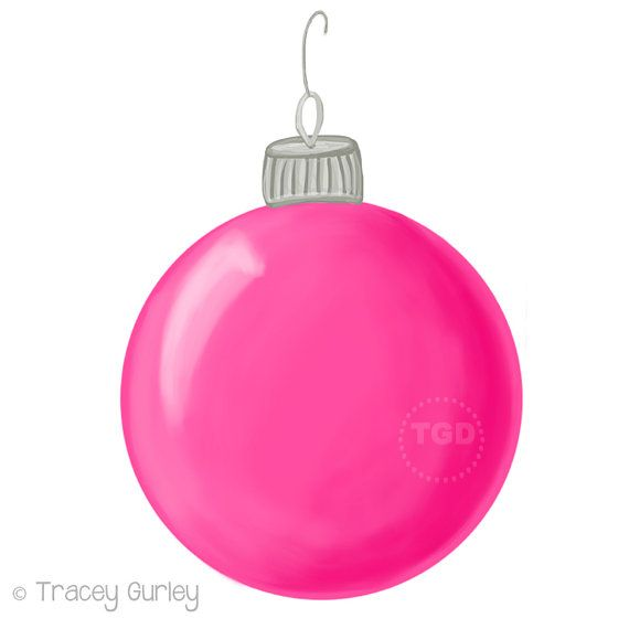 Pink christmas ornament clip art hand painted clip art for Pink christmas decorations
