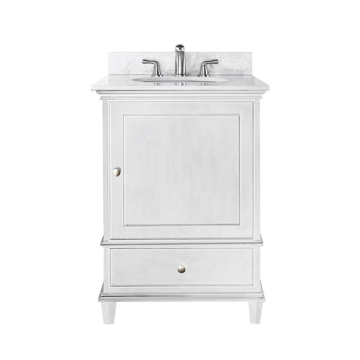 Web Photo Gallery Windsor Inch Vanity with Carrera White Marble Top And Sink in White Finish Faucet