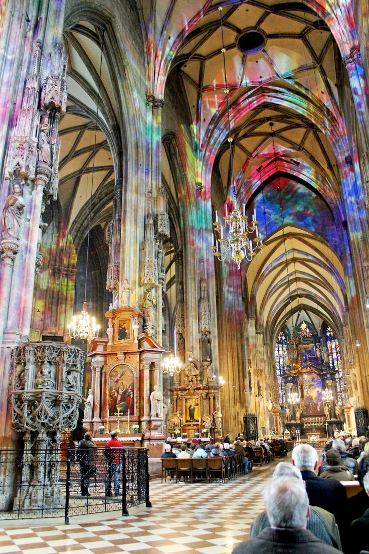 Vienna, Austria – St. Stephen's Protomartyr, Cathedral, first building stage began in the early 12th century. Excavations for a heating system in 2000 revealed the cathedral was built on top a cemetary from the 4th century. The glorious roof is covered with 200,000 colorful tiles.