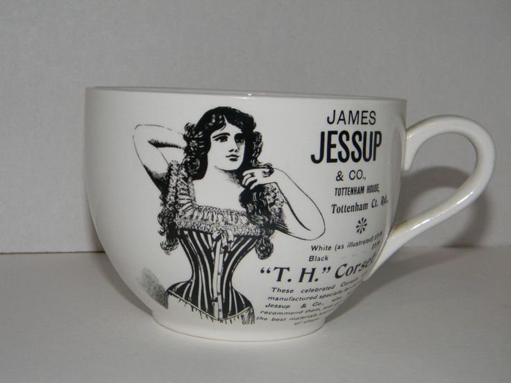 VINTAGE VICTORIAN JAMES JESSUP T.H. LACE UP CORSET PORTMEIRION ENGLAND MUG CUP