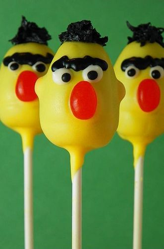 Cupcakes Take The Cake: Sesame Street on a stick: Bert, Ernie, Elmo, Big Bird and Cookie Monster cake pops!